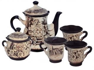50102 Набор чайный 8 предметов (Чайник1.1л,сахарница700мл, 6чашек300мл) Ажур