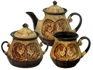 50102 Набор чайный 8пр. (Чайник1,17л,сахарница700мл, 6чашек360мл) Хуторок