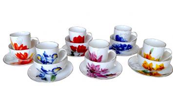1592 Набор для завтрака 3пр. (Тарелка 18 см, чашка 320 мл, пиала 500 мл) Цветы