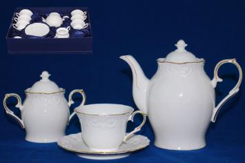1777 Сервиз чайный 14пр. Белая ночь (чайник-500мл, сах.-350мл, чашка-220мл, блюдце-15,5см)