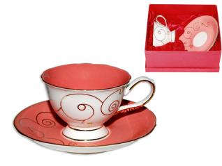 2332 Чашка с блюдцем Розовый коралл