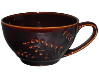 50194 Чашка чайная рифленая коричневая 380мл