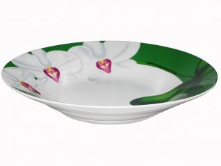 3082-12 Тарелка  суп 8 'Белая Орхидея (зеленый ободок) (36)