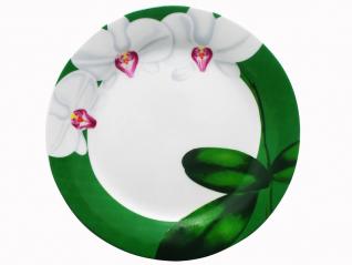 3081-12 Тарелка 9 'Белая Орхидея (<a href='http://snt.od.ua/ru/poisk.html?q=зеленый' />зеленый</a> ободок) (24)
