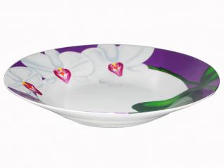 3082-12 Тарелка суп  8 'Белая Орхидея (фиолетовый ободок) (36)