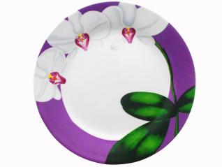 3081-12 Тарелка 9 'Белая Орхидея (фиолетовый ободок) (24)