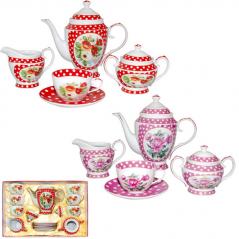 1790 Сервиз чайный 15пр. Горошек  (чашка 260мл ,мол350мл, цукор. 400мл., чай 1,3, блюдце 15см)