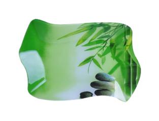 3810 Тарелка 'Волна1' 24,5*16см (Зеленый бамбук)
