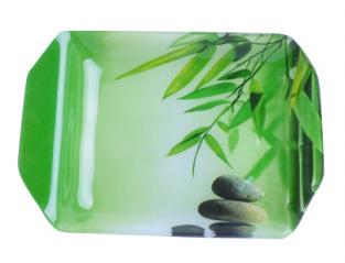 3812 Тарелка `Разнос` 19,5 * 14,4 см  (Зеленый бамбук)