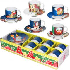 1454 Сервиз кофейный 12 пр. Новый год (чашка-80мл, блюдце-11см)