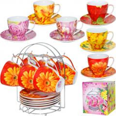 159 Сервиз чайный 12ел. цветы h-8см,d-9см,об-250мл