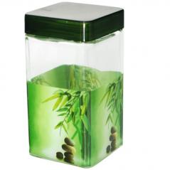 610 Емкость для сып.продуктов 1,35л. квадратная (Зеленый бамбук)