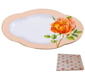 9705 Блюдо ов. 12 'Китайская роза