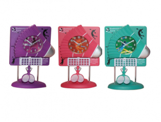 05-113 Table clock with a pendulum Kids Badminton quartz. plastic