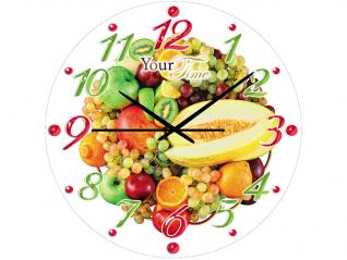 01-097 Часы настен.серия Кухня Фруктовая феерия стекло/кругл. 28см