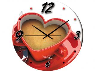 01-127 Часы настен. серия Кухня Капучино стекло/кругл. 28см
