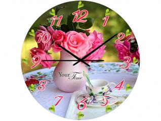01-160 Часы настен.серия Розовая нежность  стекло/кругл. 28см
