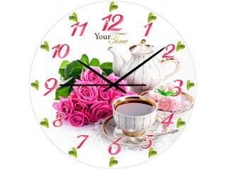 01-161 Часы настен.серия Розовая нежность  стекло/кругл. 28см