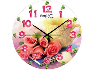 01-163 Часы настен.серия Розовая нежность  стекло/кругл. 28см