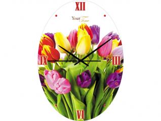 01-187 Часы настен.серия Тюльпан стекло/овал  25Х35 см