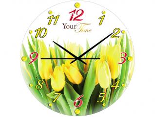 01-149 Часы настен.серия Кухня Тюльпан стекло/кругл. 28 см