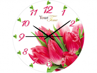 01-150 Часы настен.серия Кухня Тюльпан стекло/кругл. 28 см