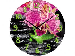 01-155 Часы настен.серия Кухня Розовая орхидея стекло/кругл. 28 см