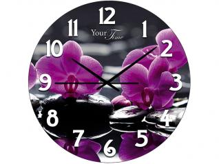 01-156 Часы настен.серия Кухня  Орхидея стекло/кругл. 28 см