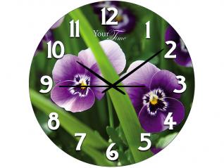 01-157 Часы настен.серия Кухня  Цветочные стекло/кругл. 28 см