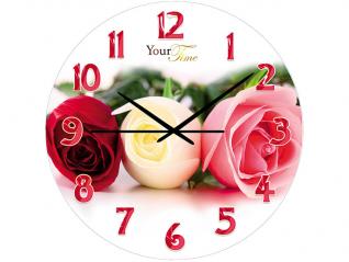 01-159 Часы настен.серия Кухня  Розовая нежность стекло/кругл. 28 см