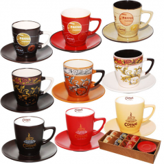 1517-01 Сервиз чайный 12 предметов Мокко (d-7см,h-8 см,обьем-220мл,блюдце d-14см)
