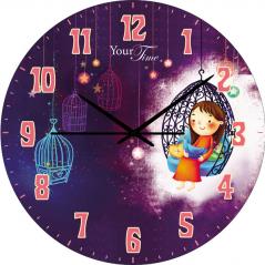 05-401/4 Wall Clock Flora children's series MDF circle 25 cm