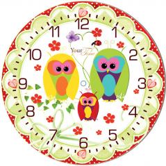 05-403/17 Wall Clock Owl Dream Child Care MDF circle 25cm