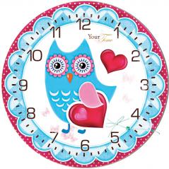 05-403/18 Wall Clock Owl Dream Child Care MDF circle 25cm