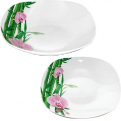 30822-226 Тарелка 9 'суп квадрат Бамбук и Орхидея розовая