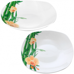 30822-226 Тарелка 9 'суп квадрат Бамбук и Орхидея желтая