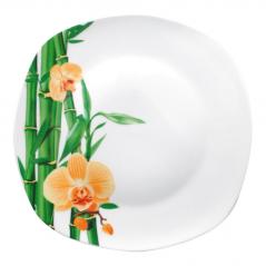 30800-226 Тарелка 8 'квадрат Бамбук и Орхидея желтая