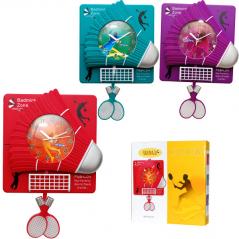05-106 Wall clock with pendulum Kids Badminton quartz. plastic 32*7*33сm