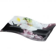 3818 Тарелка для оливок и маслин 15,5*10 см  (Белые цветы)
