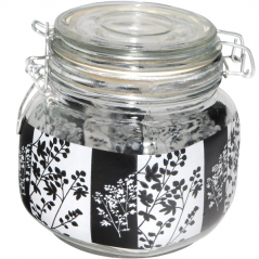 6140 Ёмкость для сыпучих продуктов на зажиме Чёрное и белое 0,9л