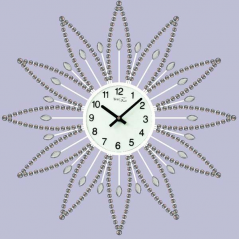 02-225 Wall Clock with stones white metal 40x40 cm
