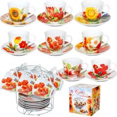 152-00 Сервиз чайный 12 пр. на металической стойке <a href='http://snt.od.ua/ru/poisk.html?q=Цветы' />Цветы</a> 200мл,d14см