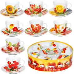 151-03 Сервиз чайный 12 пр. Цветы 200мл,d14см