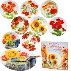 3085-03 Набор для торта 2 предм. <a href='http://snt.od.ua/ru/poisk.html?q=Цветы' />Цветы</a>