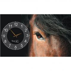06-210 Wall Clock on canvas 50 * 30cm Horses