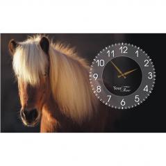 06-209 Wall Clock on canvas 50 * 30cm Horses
