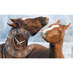 06-207 Wall Clock on canvas 50 * 30cm Horses