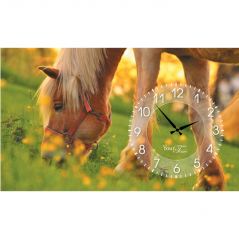06-205 Часы настенные на холсте Лошади 50*30см