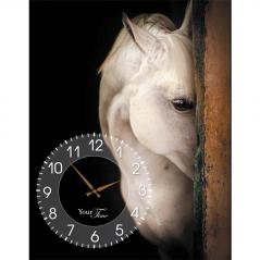 06-206 Wall Clock on canvas 50 * 30cm Horses