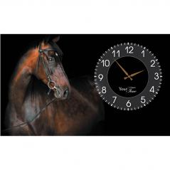 06-202 Часы настенные на холсте  Лошади 50*30см